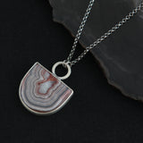Natural Geometry Necklace - Crazy Lace Agate and Sterling Silver