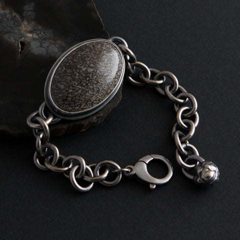 Dark And Stormy Bracelet - Fossil Dinosaur Bone and Sterling Silver