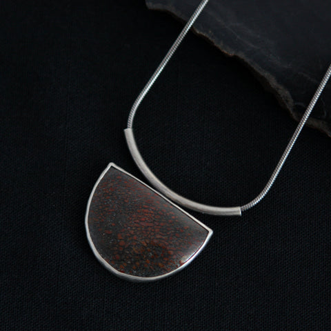 Red Moon Necklace - Fossil Dinosaur Bone and Sterling Silver