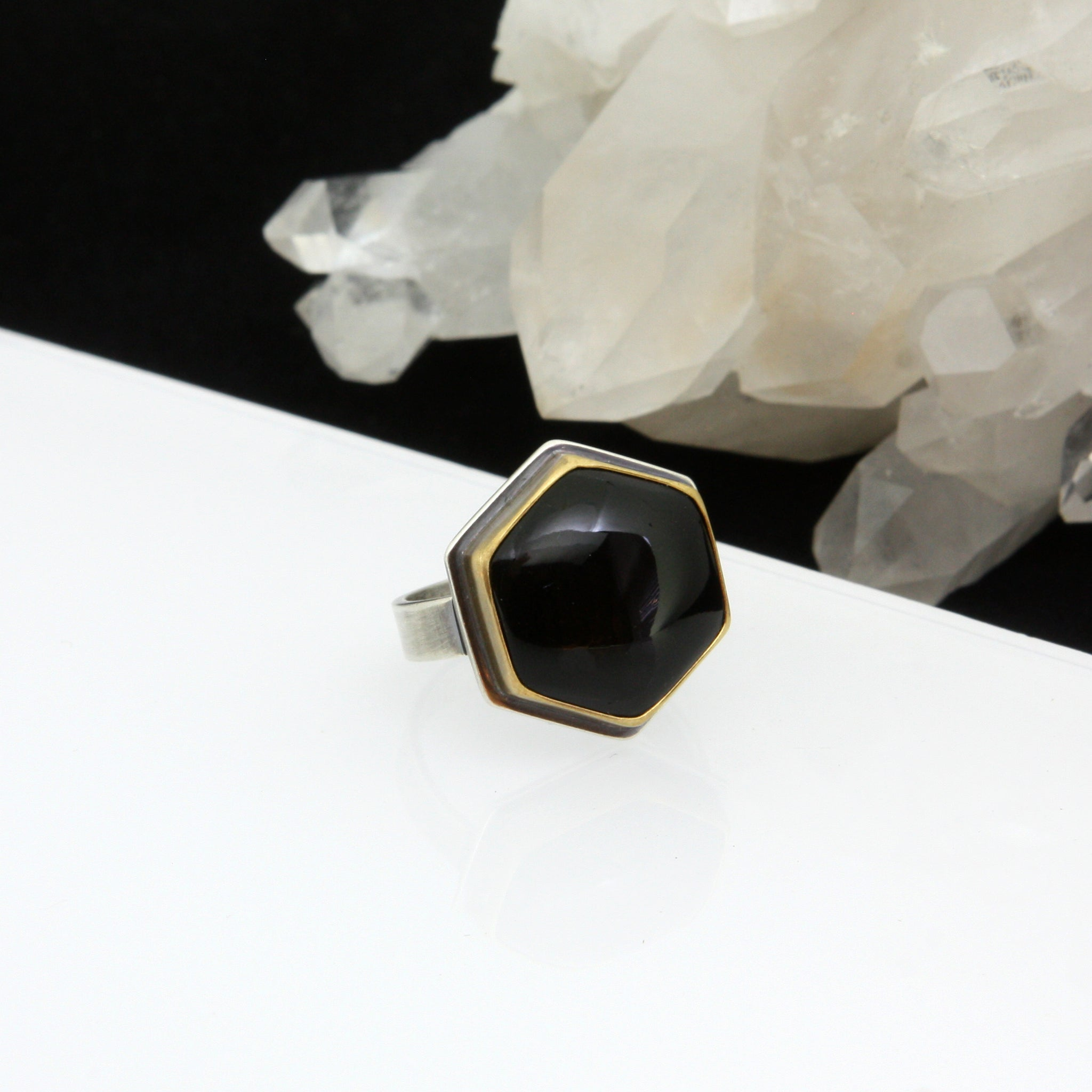 Hexagonal Onyx Ring