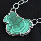Reflections Necklace - Malachite Stalactite and Sterling Silver