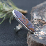Fossilized Sea Sponge in Lavender Chalcedony Ring - Genuine Fossil and Sterling Silver Ring