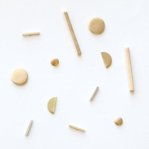 Minimal Stud Earrings - Simple Brass Studs