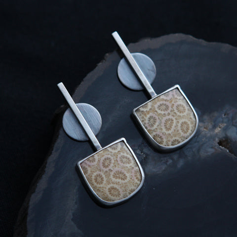 Dot and Dash Earrings - Fossil Coral and Sterling Silver