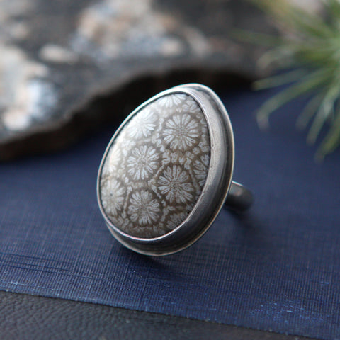 Fossilized Coral Tear Drop Ring - Genuine Fossil and Sterling Silver - Size 9