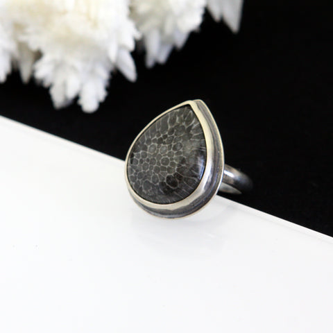Black Fossil Coral Ring - Size 6