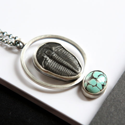 Trilobite and Turquoise Necklace
