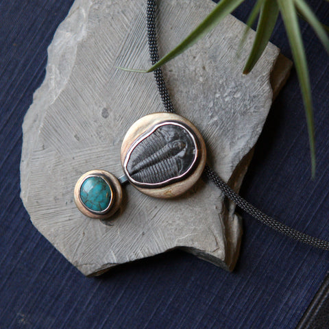 Trilobite and Turquoise Collar