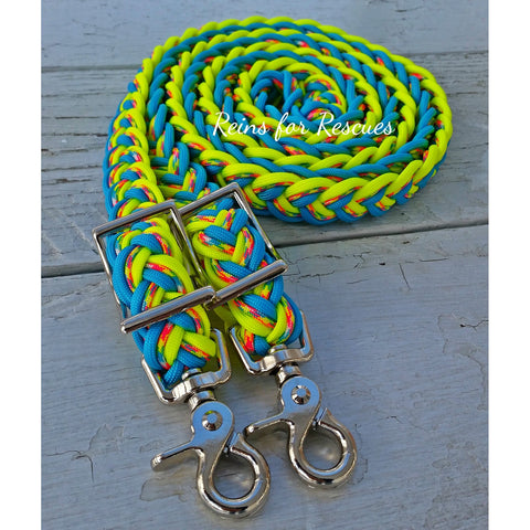 Turquoise, Birthday Cake & Yellow Adjustable Riding Reins