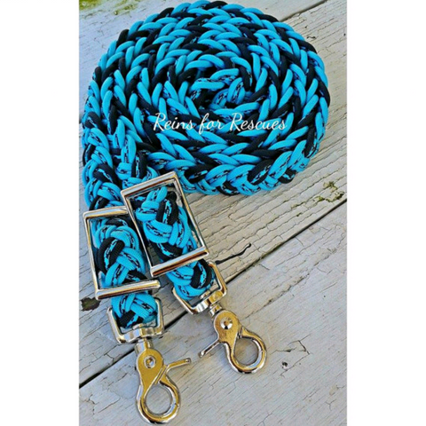 Turquoise, Black & Turquoise Speckled Adjustable Riding Reins
