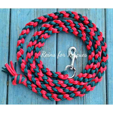 Red & Hunter Green Lead Rope