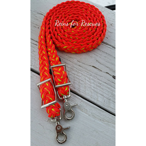 Orange & Starburst Adjustable Riding Reins