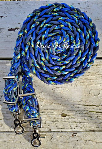 Navy, Royal Blue and Patterned Adjustable Riding Reins