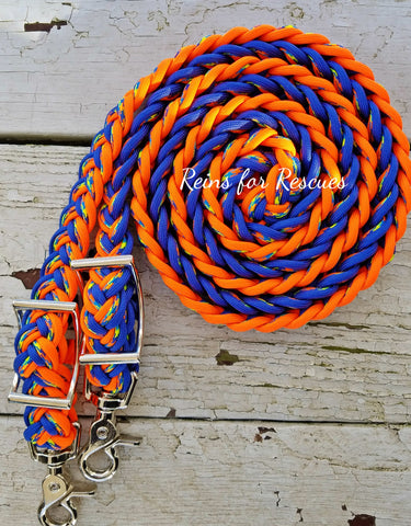 Royal Blue, Orange and Patterned Adjustable Riding Reins