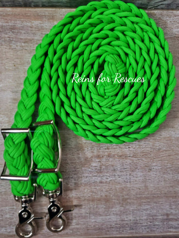 Neon Green Adjustable Riding Reins