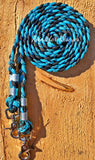 Turquoise and Black Patterned Basic Riding Reins