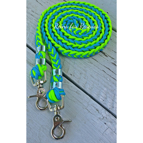 Turquoise & Lime/Neon Green Riding Reins