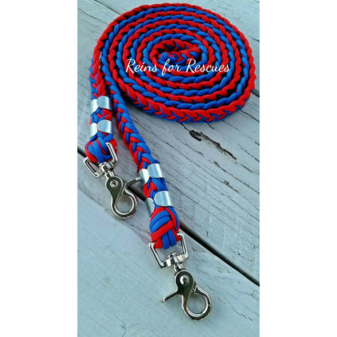 Red & Royal Blue Riding Reins