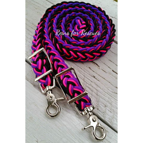 Hot Pink, Purple & Black Adjustable Riding Reins