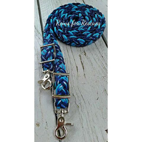 Navy, Winter Camo/Camouflage & Turquoise Adjustable Riding Reins