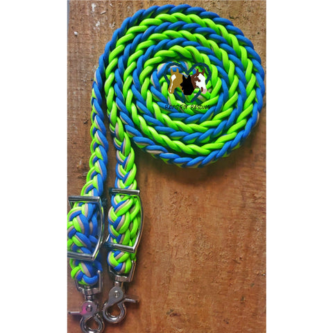 Lime Green, Tan And Royal Blue Adjustable Riding Reins