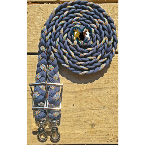 Navy and Gray Rainbow Adjustable Riding Reins