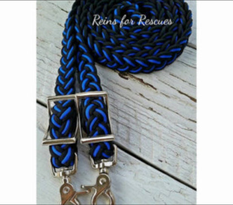Police Support/Blue Line Black with Royal Blue Adjustable Riding Reins