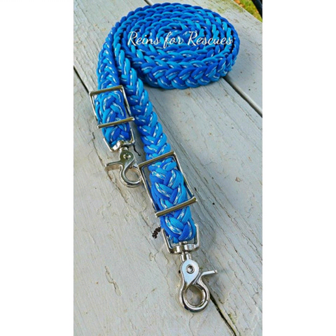 "RESCUE LINE:  ""Vegas Blues"" Adjustable Riding Reins"