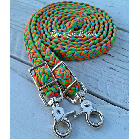 Skittles Adjustable Riding Reins with Red, Turquoise & Green