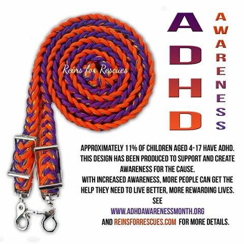 ADHD Awareness Adjustable Riding Reins