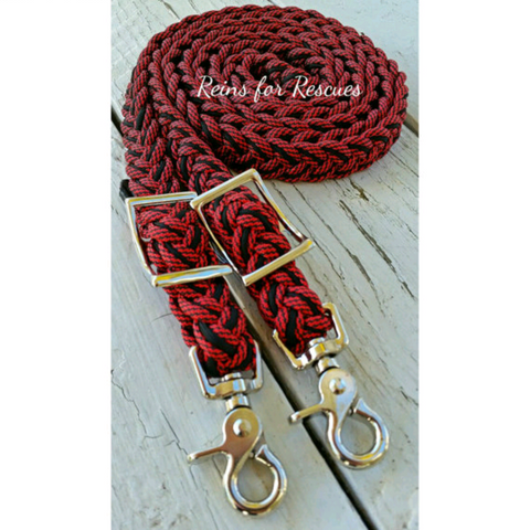 Red Speckled & Black Adjustable Riding Reins