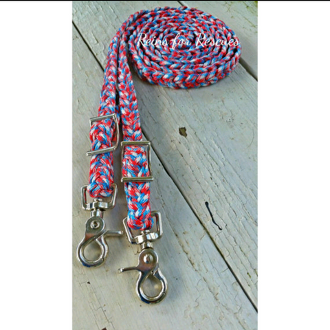 Patriotic Red, White & Blue Camo/Camoflage Adjustable Riding Reins