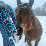 Turquoise, Black & Acid Purple Adjustable Riding Reins