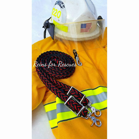 Firefighter Support Adjustable Riding Reins with Black & Red