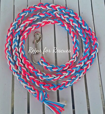 Turquoise, Hot Pink & White Lead Rope