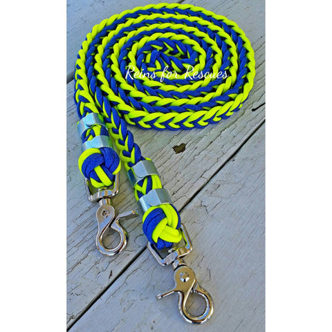 Royal Blue & Yellow Riding Reins