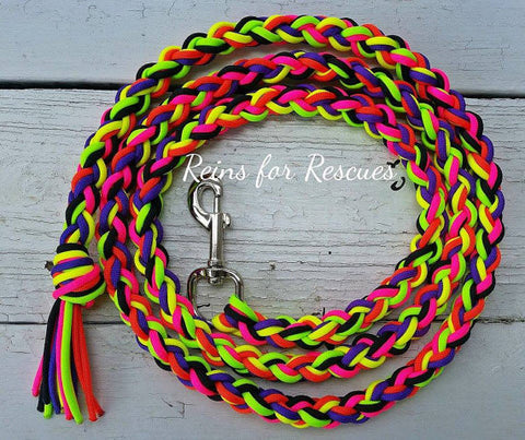 Neon Lead Rope with Black, Lime Green, Neon Yellow, Neon Orange, Acid Purple & Hot Pink