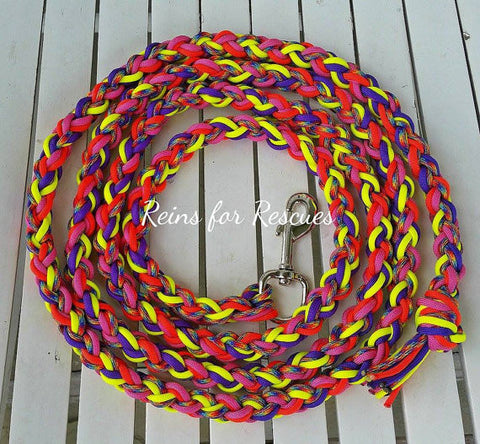 Tie Dye Lead Rope with Acid Purple, Yellow, Red & Hot Pink