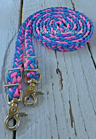 Turquoise, Rose Pink & Lavender Adjustable Riding Reins
