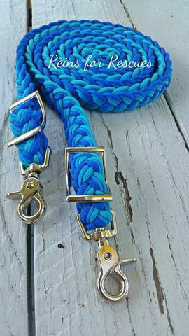 Turquoise, Light & Royal Blue Adjustable Riding Reins