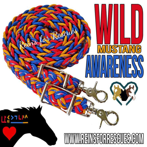 Mustang Awareness Adjustable Riding Reins