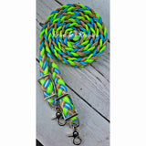 So-Cal Dreamin - Lime/Neon Green, Turquoise, Tan & White Adjustable Riding Reins
