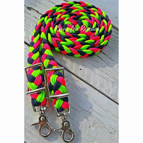 Navy, Hot Pink & Lime/Neon Green Adjustable Riding Reins