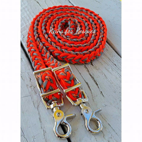 Orange & Gray Camo/Camouflage Adjustable Riding Reins