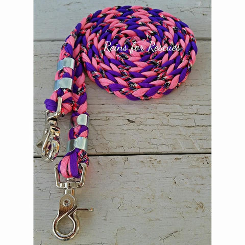 Pink, Acid Purple & Barney Riding Reins