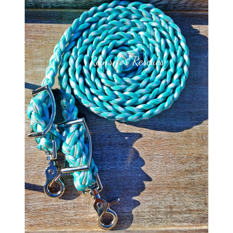 Seafoam and Silver Adjustable Riding Reins