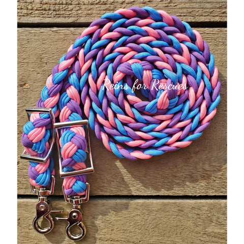Rose Pink, Lavender and Baby Blue Adjustable Riding Reins