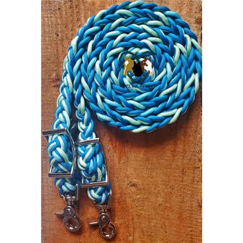 Caribbean Blue and Ombre Adjustable Riding Reins