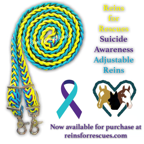 Suicide Awareness - Yellow, Acid Purple and Turquoise Adjustable Reins