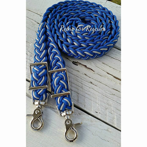 Royal Blue & Silver Adjustable Riding Reins